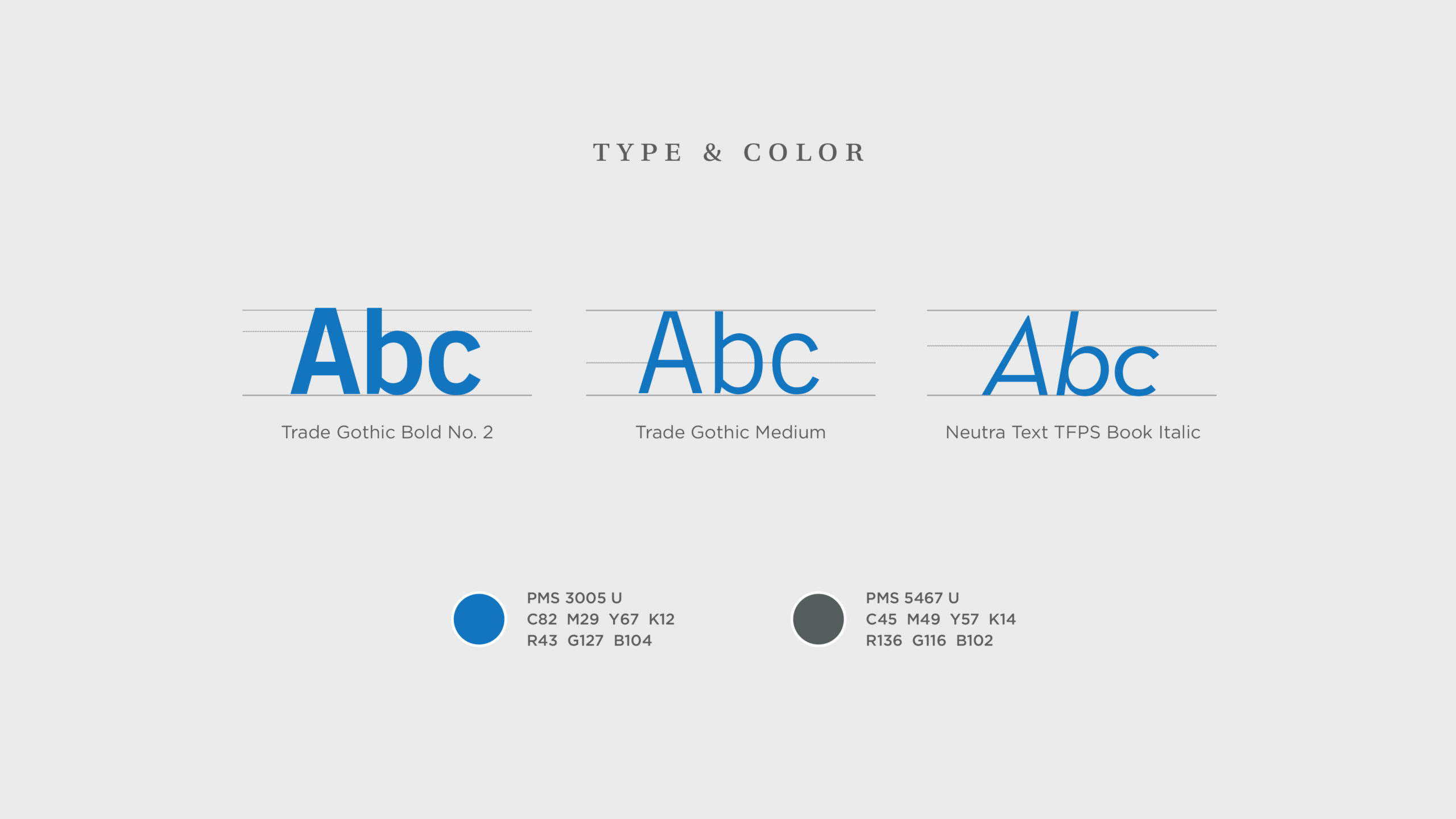 type and color specifications
